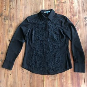 Antonio Melani Black Lace Front Button Down Blouse